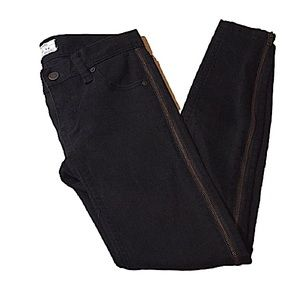 FREE PEOPLE Black Skinny Jeans Side Zippers